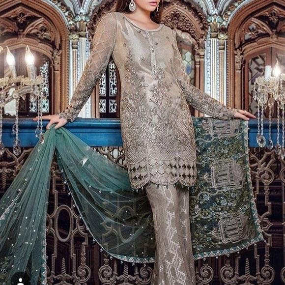 ffbb4c12bafe8 Maria B Dresses | Grey Shalwar Kameez Pakistani | Poshmark